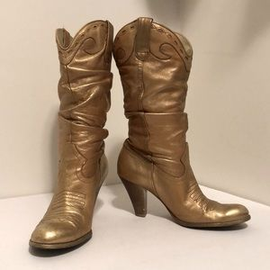 Champagne Metallic Jessica Simpson Cowgirl Boots